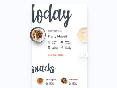 Headchef - Today food snacks recipe program diet apple almonds granola yogurt muesli breakfast