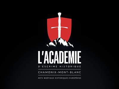 AEH Logo coat of arms savoie negative space club shield weapon historical fencing academy mountain hema longsword sword logo