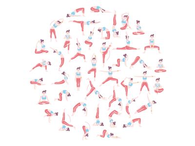 42 Funny Yoga Poses creative market vectorart stock yoga pose yoga vector design digital art 2d character design illustration