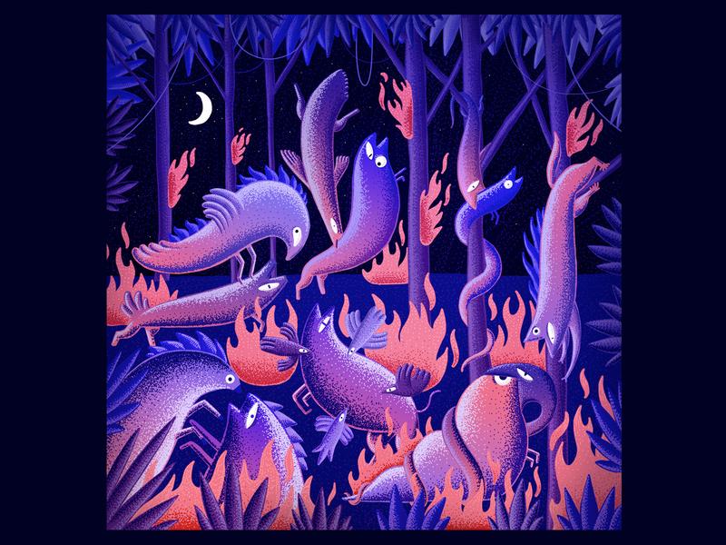 Night Terror pointillism red animal 2d digital art digital brush illustration