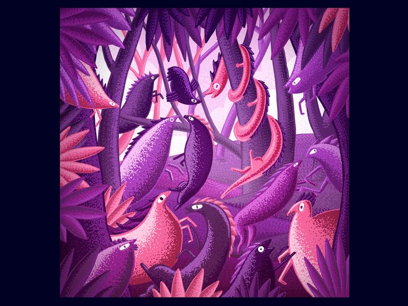 Dancing Animals digital art digital brush forest jungle animal character design illustration