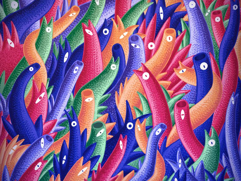 Rising Plants digital painting pointillism digital brush animal 2d digital art illustration