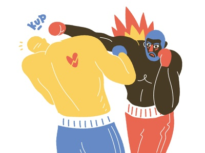 Punch sport boxing vector 2d character design illustration