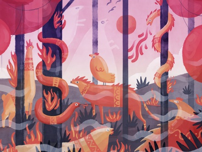 Red Forest fire burning forest character design 2d digital brush animal digital art illustration