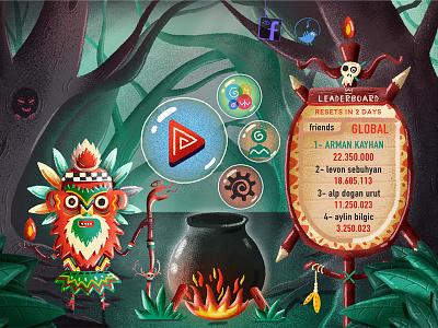 Voodoo Mambo Menu game digital brush design typography logo ux ui 2d character design illustration