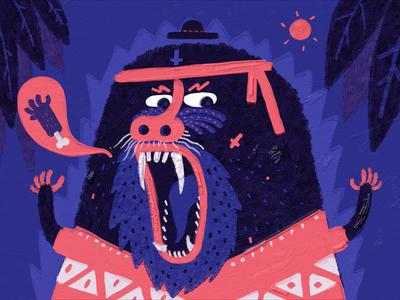 Crazy Monkey blue character design illustration