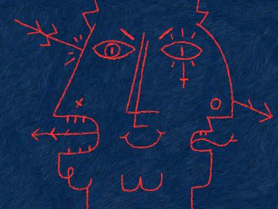 Death of the Old Gods digital art red blue character design illustration
