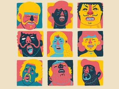 Orgasmic Faces digital art character design illustration