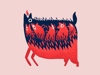 Catharsis blue red animal digital art illustration