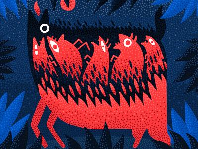 Fire III print photoshop illustration design animal night blue red pattern texture pointillism fire jungle digital painting