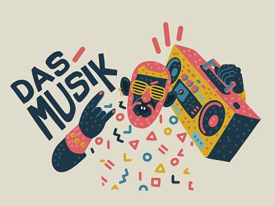Das Musik hip hop music 80s art illustrator character 2d vector design illustration