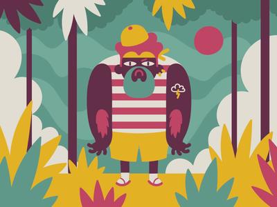 Jungle Boi jungle flat vector 2d character design illustration