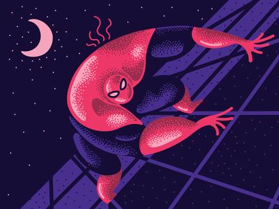 Spidey design digital art 2d character design moon night spiderman blue red pointillism vector illustration