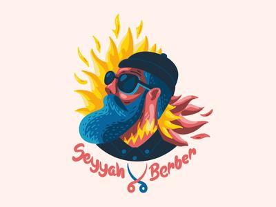 Seyyah Berber Logo icon typography blue red branding logo vector digital art 2d character design illustration