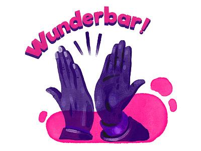Wunderbar high five design 2d digital art hand illustration