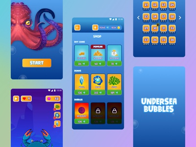 Undersea Bubbles game asset game app game design ux ui icon app typography game game art design