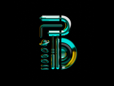 B #36daysoftype_08 36daysoftype08 type blender b3d 36daysoftype chrome sci-fi cyberpunk alphabet lettering teal yellow showusyourtype welovetype strengthinnumbers artoftype typedesign typography letter