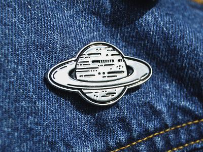 SATURN - Enamel pin vector soft enamel silver graphic product design space planet enamel pin pin saturn graphic design