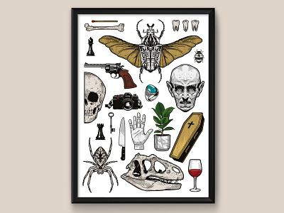 FLASH - Art print creative gun teeth spider graphic design adobe illustrator illustrator skull hand beetle entomology insect coffin art horror vampire illustration vector tattoo flash