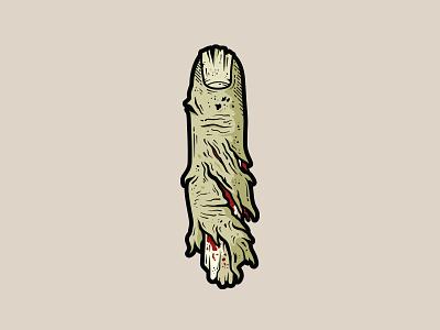 Severed Finger - Sticker drawing illustration illustrator adobe illustrator vector death creative sticker design decal occult dark anatomy severed finger horror finger colour sticker graphic