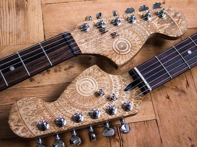 axe. (ii) music musical instrument lazeretch laseretched etching laser pattern mandala guitar axe