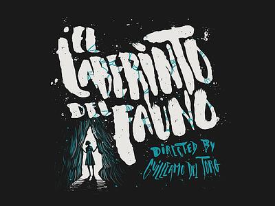 El Laberinto Del Fauno cinema director pans labyrinth hand drawn brush movie film splatter typography grunge