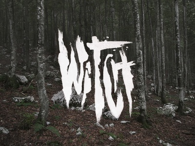 The Witch dark craft typography occult forest woods witch hand drawn brush