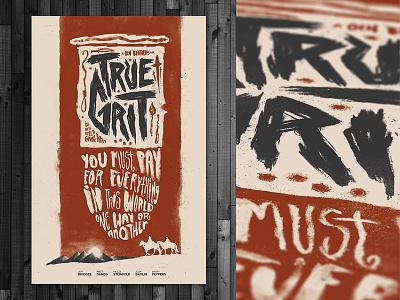 True Grit Poster handmade horse sunset type movie film screen print poster western grunge grit true