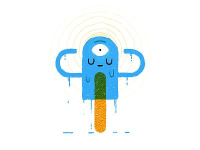 Popsicle Dude melt fun geometric flat character cartoon hypnosis texture grit treats popsicle