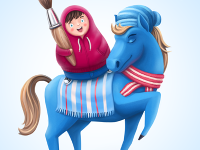Postcard illustration hoodie horse brush awesome