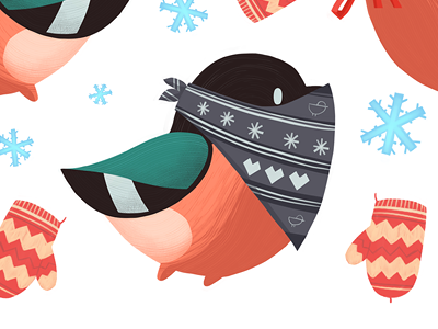 Bullfinches illustration bird winter pattern cute print snow bullfinch