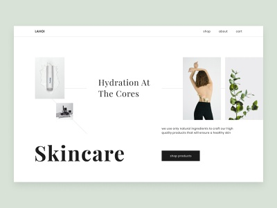 Skincare Webshop Landing Page visual hierarchy visual design clean skincare cosmetics product page landing page webshop whitespace typography minimalistic grid layout branding minimalism clean design clean ui user interface ui  ux ui ui design