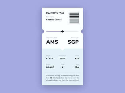 Daily UI #024 | Boarding Pass