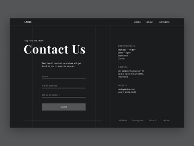 Daily UI #028 | Contact Us whitespace modern ui grid layout contact form typography contact us minimalistic contact branding dark theme dark ui clean minimalism user interface ui  ux dailyui dailyui028 daily 100 challenge ui design contact page