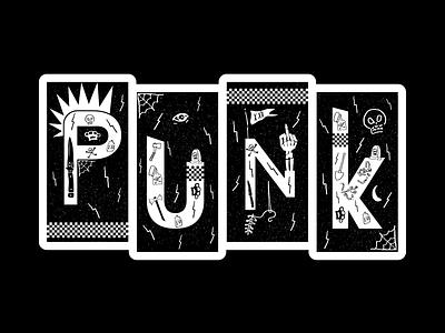 PUNK Sticker illustration knife brass knuckles needle tattoo spiderweb flag checker sticker skull mohawk middlefinger punkrock punk