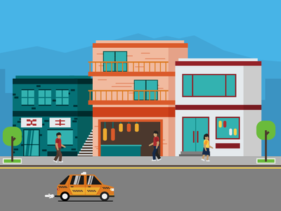 Shopping Area apartments city street shops cab car taxi characters people building illustration