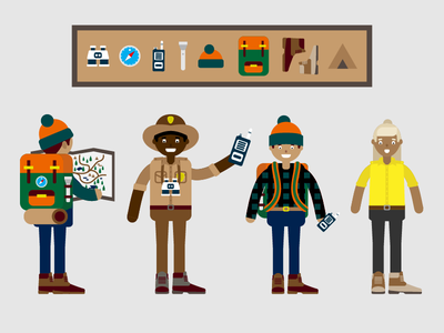 Hiking Characters tour guide guide hiker ranger badge hike camping characters flashlight compass map binoculars boots tents backpack walkie walkie talkie hiking