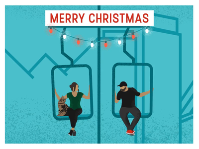 Merry Christmas from me and the lady friend animation gif motion graphics holiday card holiday christmas lights light cat character illustration ski lift
