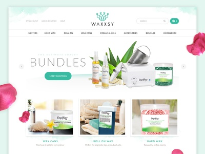 Waxxsy Ecommerce serene minimal clean responsive watercolor spa e-commerce ecommerce