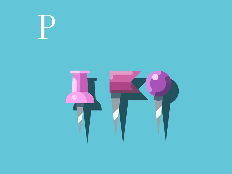 P is for Pins drawingchallenge vectorillustration vectorart pins design alphabet flatdesign flat