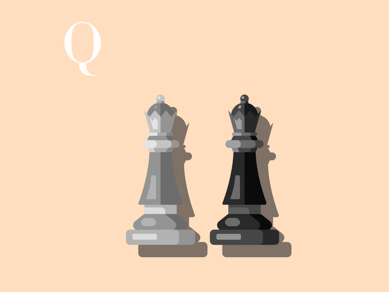 Q is for Queen drawingchallenge vectorillustration queen chesspiece chess vectorart flatdesign flat design alphabet