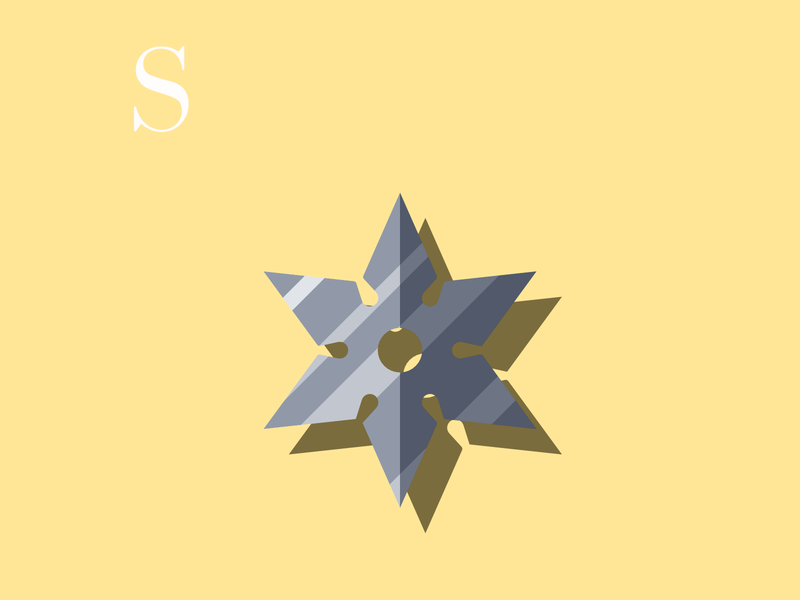 S is for Shuriken vectorillustration ninja design drawingchallenge shuriken weapon flatdesign flat vectorart alphabet