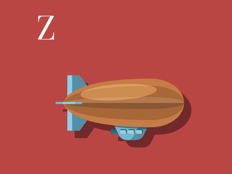 Z is for Zeppelin flat design flat graphic design illustration flatdesign zeppelin drawing challenge vector illustration vectorart vector alphabet