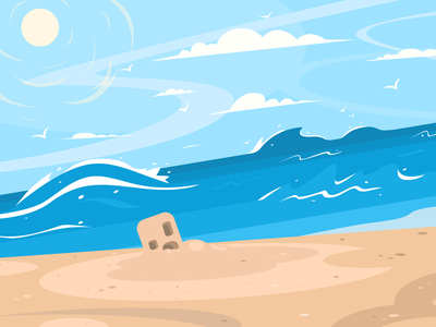 Beach Scene scenery background vector art scene beach illustration vector flatdesign