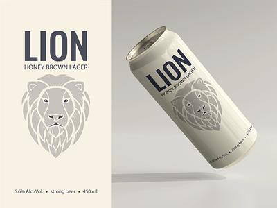 My lion illustration on a beer can logo branding graphic design design vector flat illustration