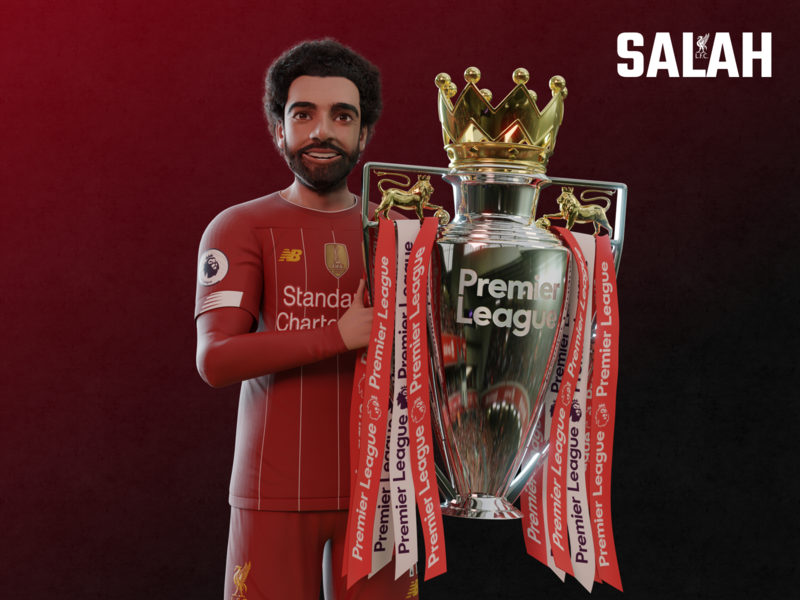Mo Salah Character red premierleague liverpool trophy champion mo salah character soccer football