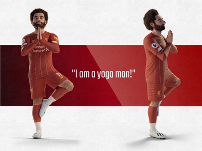 Yoga Man player soccer mo salah celebration blender3d ynwa anfield liverpool fc football red character art