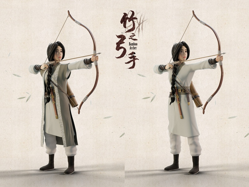 Bamboo Archer bamboo green girl warrior bow oriental history archery archer character 3d