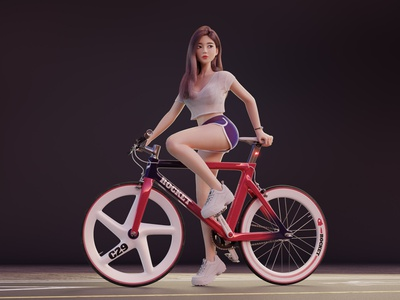 Cycling Girl workout dolphin pants purple red blender cycling road bike bicycle render character 3d