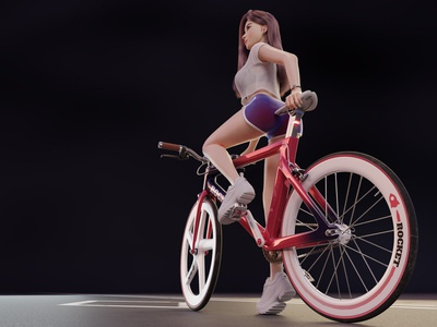 Cycling Girl Wide Angle Shot girl character red purple road bike bicycle illustration blender render character 3d